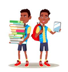 E-book reader boy afro american child vector