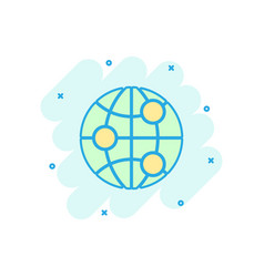 Earth planet icon in comic style globe geographic vector