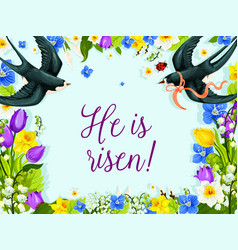 Easter swallows in flower wreath greeting vector