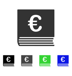 Euro sales book flat icon vector