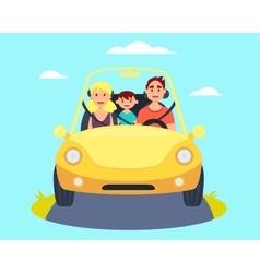 Family in car vector