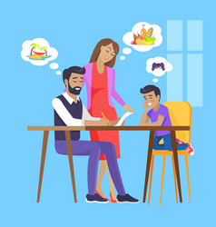 Family meeting by square table vector