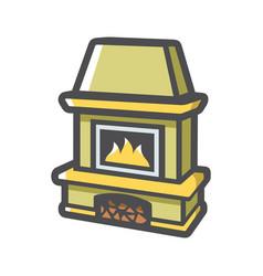 Fireplace home hearth icon cartoon vector