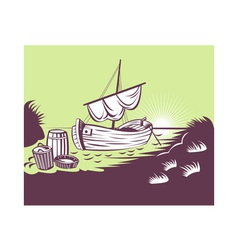 fishing boat at sea vector image vector image