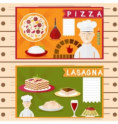 flat design posters italian cuisine elements vector image