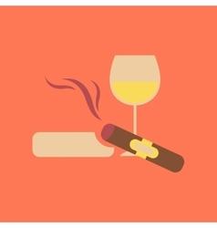 Flat icon stylish background poker cigar glass of vector