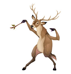 Funny deer is playing with a branch like a vector