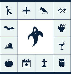 Ghost icon halloween set simple sign vector