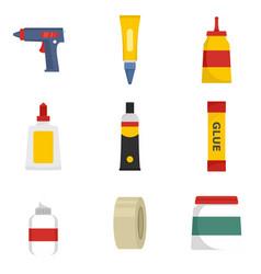 Glue stick adhesive icons set flat style vector