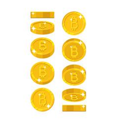 Gold bitcoin views cartoon style isolated vector