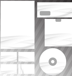 Gray swoosh wave stationery set mock-up vector