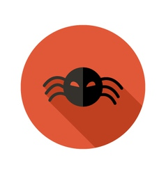 Halloween Scary Spider flat circle icon over red vector