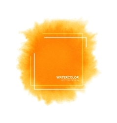 Hand painted orange watercolor splash with square vector image