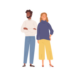 Happy cartoon diverse man and woman standing vector