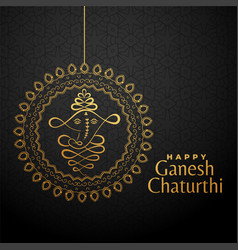 happy ganesha chaturthi golden background vector image