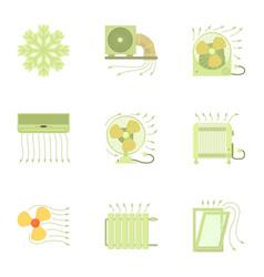 Heating equipment icons set cartoon style vector