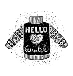Hello winter text and knitted wool pullover with a vector image