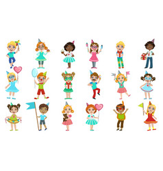 Kids on birthday party set vector