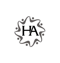 letter ha teamwork vector image