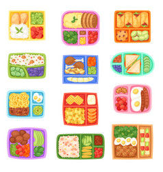 Lunch box school lunchbox with healthy food vector