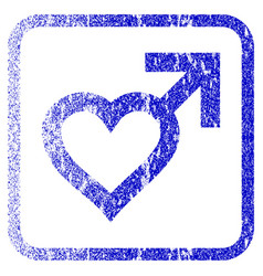 Male heart framed textured icon vector