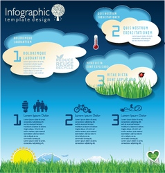 Modern ecology blue infographic design vector