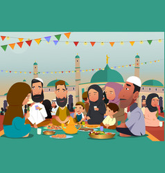 muslims eating together during ramadan vector image