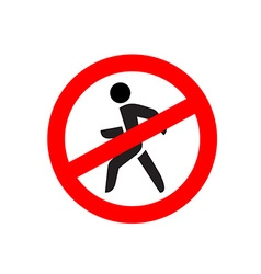 No entry symbol Stop no walking pedestrian warning vector