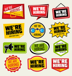 Now hiring signs employment opportunity vector