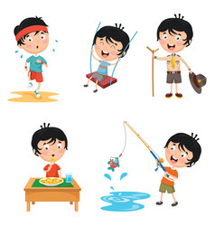 of kids daily routine activiti vector image