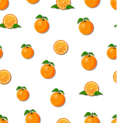 oranges slices on a white background seamless vector image