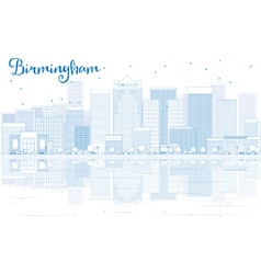 Outline Birmingham skyline with blue buildings vector