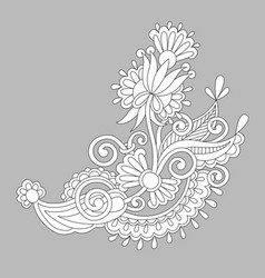 Paisley flower design white floral pattern on vector