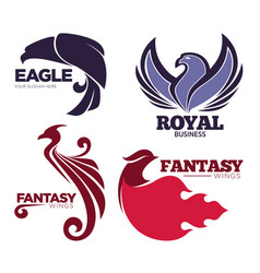 phoenix bird or fantasy eagle logo templates set vector image