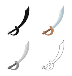 pirate sabre icon in cartoon style isolated on vector image