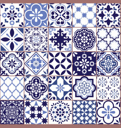 portuguese azulejo tile seamless pattern vector image