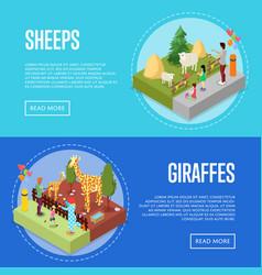 Public zoo isometric 3d posters set vector