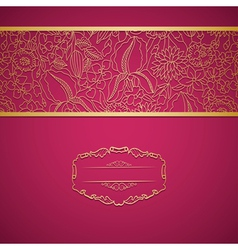 Red ornamental card with lace vector image