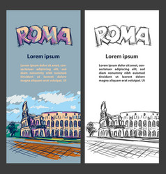 Rome trip banner set with colosseum vector