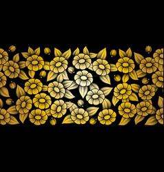 seamless gold full floral brush vector image