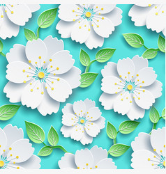seamless pattern white sakura and green leaves vector image