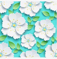 Seamless pattern white sakura and green leaves vector