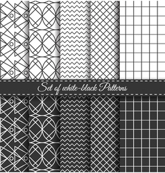 set black white pattern vector image