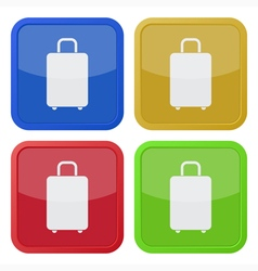set of four square icons with suitcase vector image