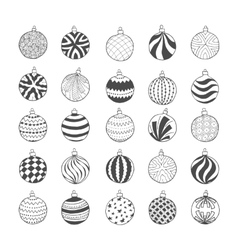 Set of hand drawn Christmas balls vector image