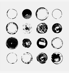 Set of monochrome abstract grunge round textures vector