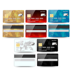 set of realistic detailed credit cards with vector image