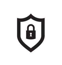 shield with security lock - black icon vector image
