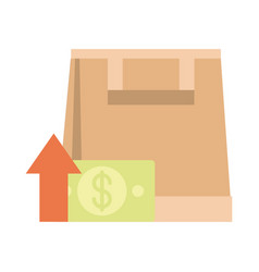 Shopping paper bag money going up arrow rising vector
