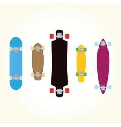 Skateboard and long board shapes isolated vector